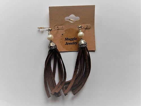 Earrings - Leather Tassel - Item E38 - Muggie Jewelry