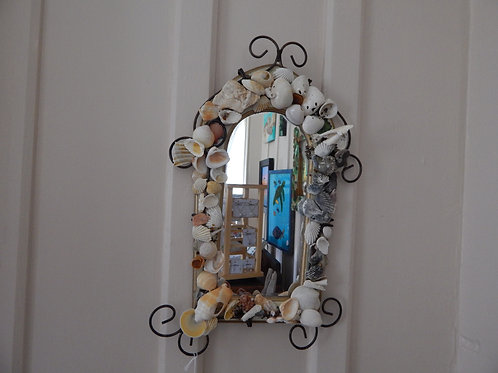 "Shell Hanging Mirror - 8"" x 15"""