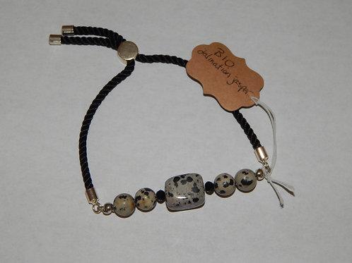 Bracelet - B10 - Dalmation Jasper / Satin Cord - Muggie Jewelry