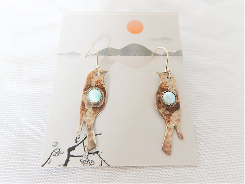 Earrings - E022 - Sterling Silver Birds w/Larimar - Classic Makings