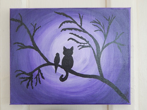 "Tree Friends on Canvas - 10"" x 8"" - Susan Guertin"