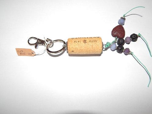 Cork Key Chain / Purse Charm - Item C13 - Lava Stone / Beads