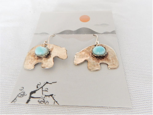 Earrings - E030 -  Sterling Silver Bears w/Larimar - Classic Makings