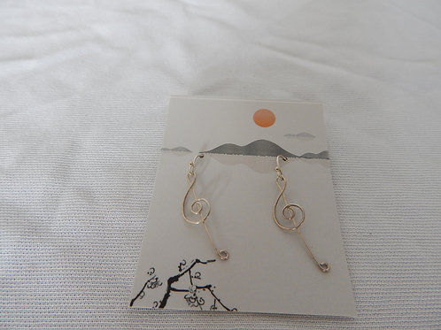 Earrings - E035 - Sterling Silver Clef Notes - Classic Makings