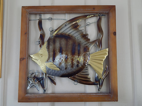 "Metal Art - Fish with Wood Frame - 19"" x 19"""