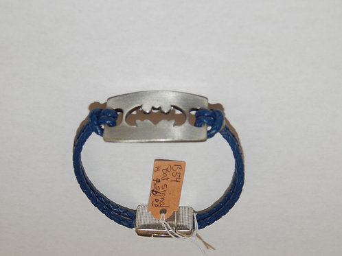 Bracelet - B54 - Blue Leather Bat Signal - Muggie Jewelry