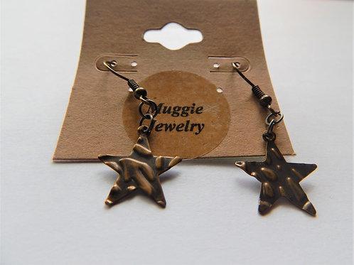 Earrings - Item E12 - Copper Stars - Muggie Jewelry