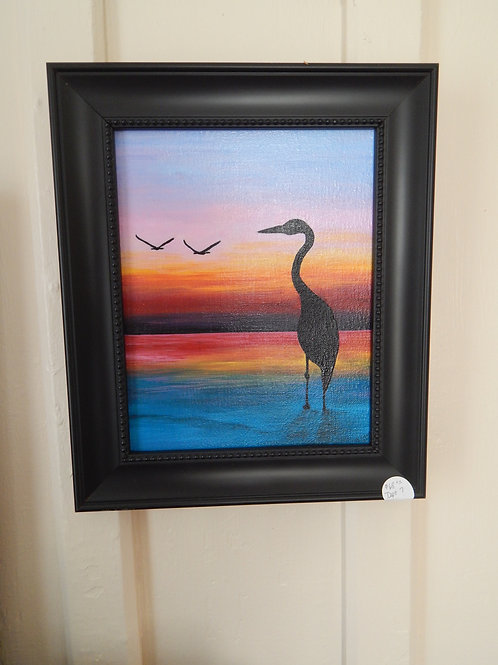 "Egret Sunset - 11"" x 13"" - Karen French"