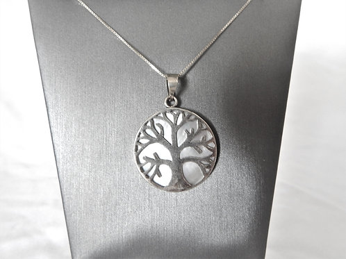 Necklace - Sterling Tree of Life over Mother of Pearl - P016