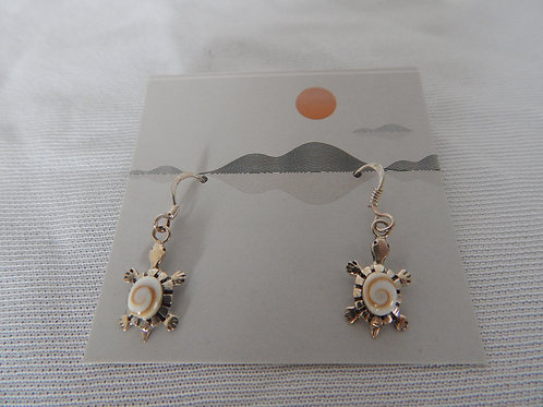 Earrings - E031 - Sterling Silver Turtles with Shell - Classic Makings
