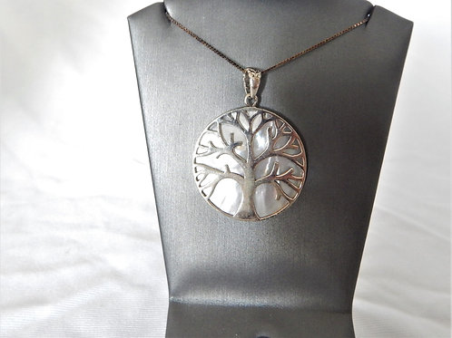 Necklace - Sterling Silver Tree of Life over Mother of Pearl - P008