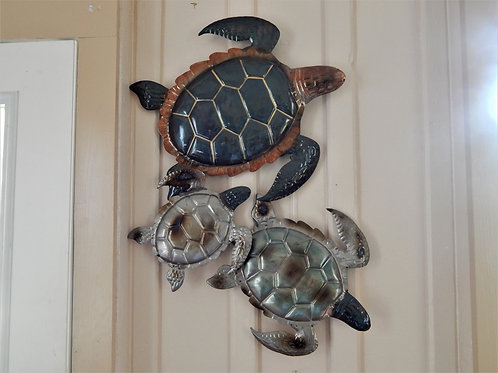 Three Turtles Metal Art Work