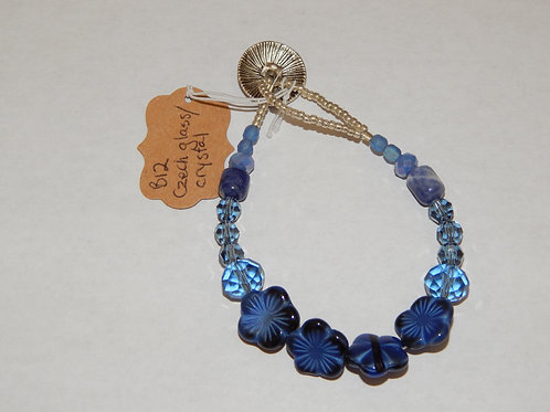 Bracelet - B12 - Blue Czech Glass Flowers / Crystals - Muggie Jewelry