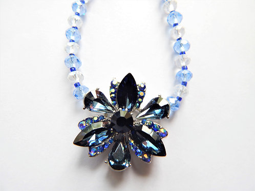 Necklace - Center Blue Flower Crystal Design - The Sparkling Thistle