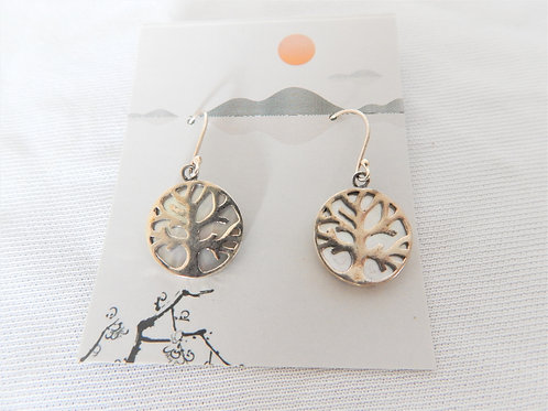 Earrings - E028 - Sterling Tree of Life over Mother of Pearl - Classic Makings