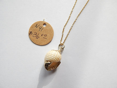 Necklace - Small Shell / Gold over Sterling Chain - Muggie Jewelry