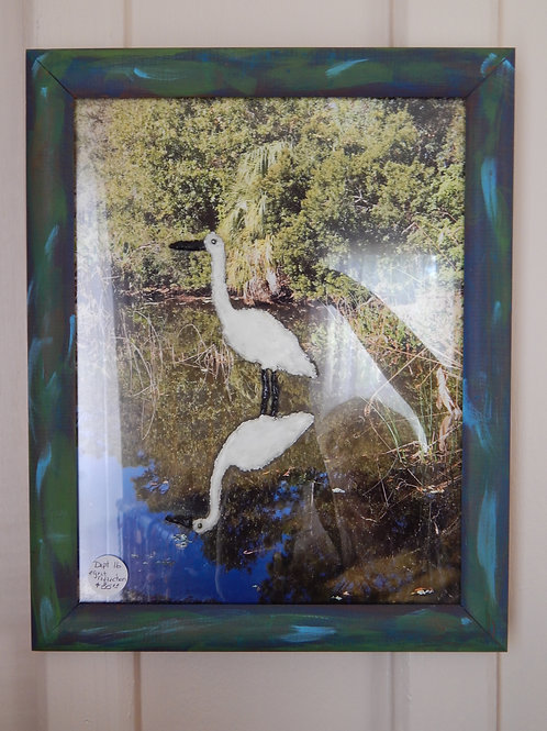 "Resin Egret Reflections on Glass - 13"" x 15"" - Bernie Graham"