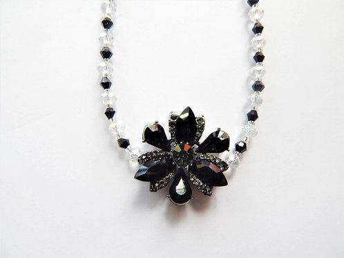 Swavorski Necklace - Black Flower - The Sparkling Thistle