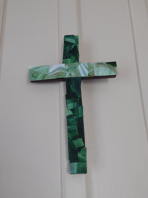 "Green Tumbled Glass Cross on wood - 10"" x 15"""