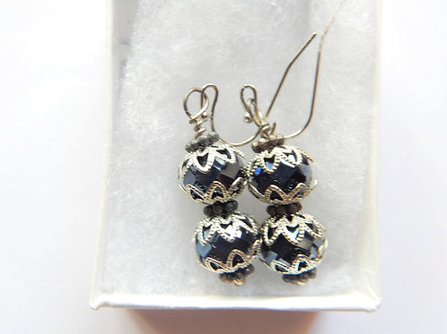 Earrings - Black Bead Drop - The Sparkling Thistle