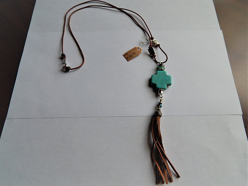 Necklace - Turquoise / Howlite Cross on Leather - Muggie Jewelry