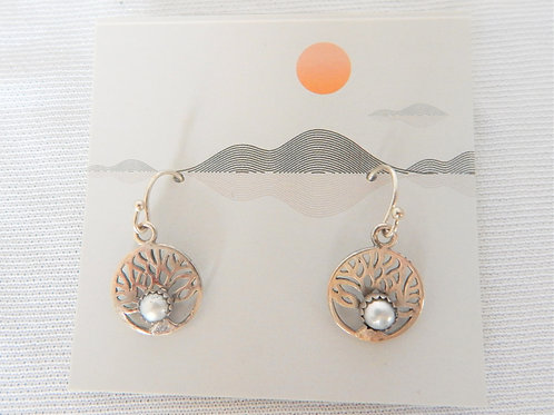 Earrings - E037 - Sterling Tree of Life with Pearl - Classic Makings