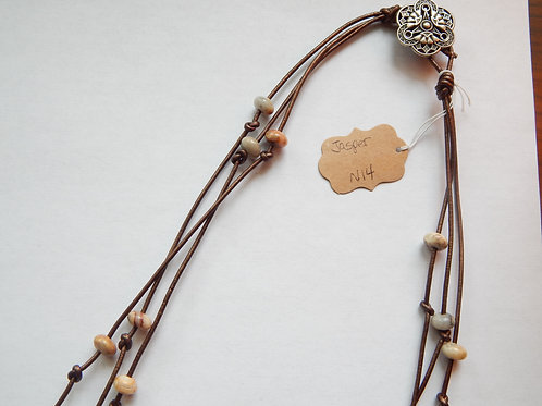 Necklace - Triple Strand Bronze Leather Cord / Jasper - Muggie Jewelry