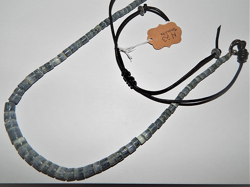 Necklace - Graduated Sodalite on Leather Cord - Muggie Jewelry