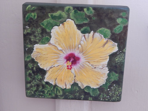 Yellow Hibiscus on Wood - Original Art - Karen French