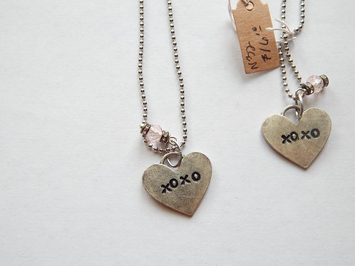 Necklace - XOXO Heart with Crystal - Muggie Jewelry