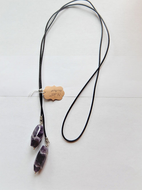 Necklace - Sawtooth Amethyst /Leather Cord Lariat - Muggie Jewelry