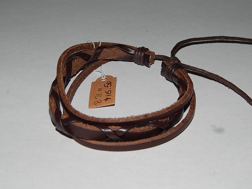 Mens Bracelet - B71M- Adjustable Leather Brown - Muggie Jewelry