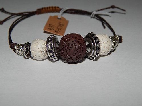 Bracelet - B37- Adjustable Brown / White Lava Stone - Muggie Jewelr