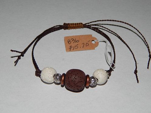 Bracelet - B36 - Adjustable Brown/White Lava Stone - Muggie Jewelry