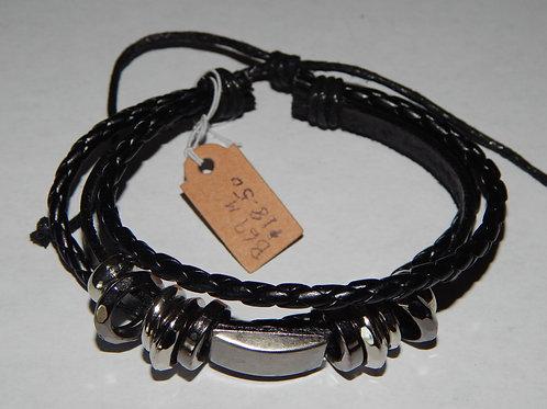 Mens Bracelet - B69M- Adjustable Leather - Muggie Jewelry