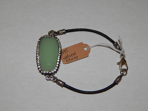 Bracelet - B45 - Leather / Green Natural Stone / Crystals - Muggie Jewelry