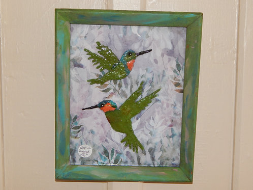 Hummingbirds Resin on Glass - Original Art - Bernie Graham