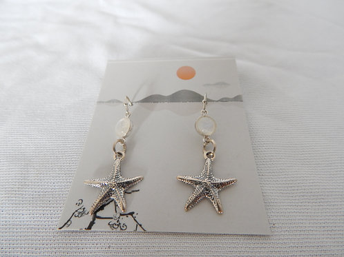 Earrings - E044 - Sterling Silver Starfish with Mother of Pearl - Classic Making