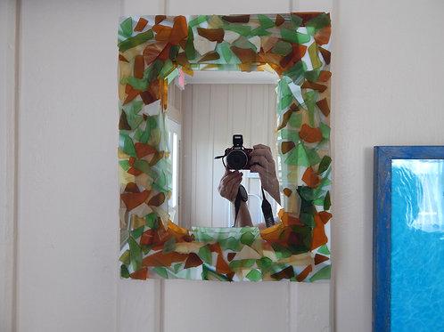 "Multi-colored Tumbled Glass Mirror - 11.5"" x 14.5"""