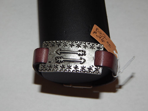 Bracelet - B22 - Purple Leather / Arrows - Muggie Jewelry