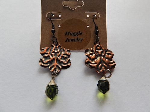 Earrings - Item E28 - Copper Flower & Crystal - Muggie Jewelry