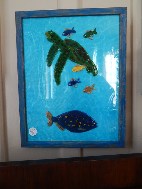 "Turtle / Fish / Ocean Resin on Glass - 12"" x 16"" - Bernie Graham"