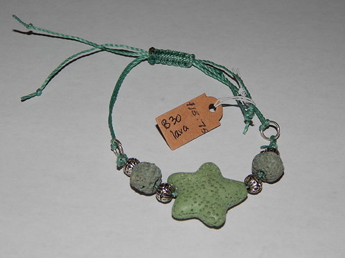 Bracelet - B30 - Adjustable Green Star Lava Stone - Muggie Jewelry