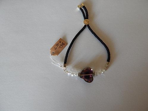Bracelet - B52 - Adjustable Crystal Heart / Satin Cord - Muggie Jewelry