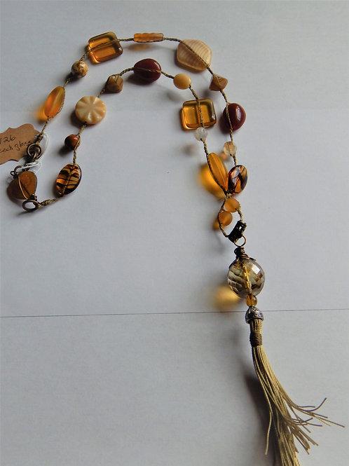 Necklace - Czech Glass / Braided / Tassel - Muggie Jewelry