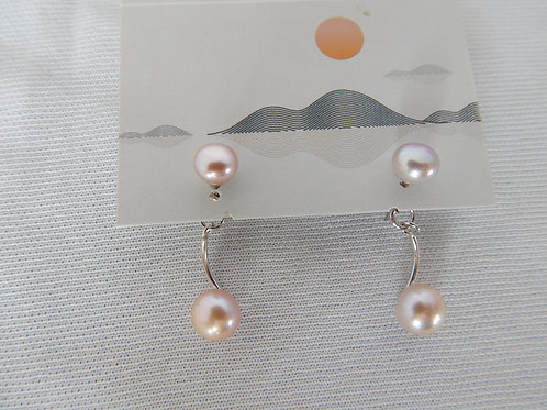 Earrings - E010 - Double Pink Pearls Posts - Classic Makings