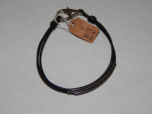 Bracelet - B35 - Leather Cord / Triple Strand Tubes - Muggie Jewelry
