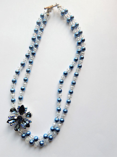 Necklace - Off Center Flower Design - Blue - The Sparkling Thistle