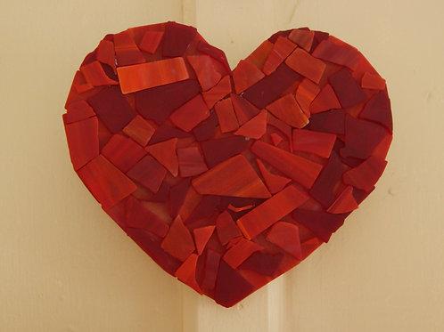 Red Tumbled Glass Heart on Wood - Original Art