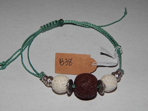 Bracelet - B38- Adjustable Brown / White Lava Stone - Muggie